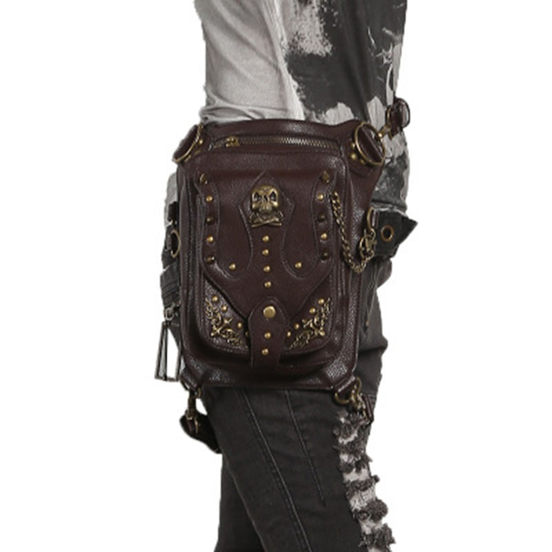 Stylish Handmade Men Women Black PU Punk Waist Bag Cell Phone Belt Bag Vintage Motorcycle Leg Bag Multi-functional Shoulder Bag 2017 women handmade patchwork wool pu leather shoulder bag vintage retro cute china red small cell phone funky crossbody bag