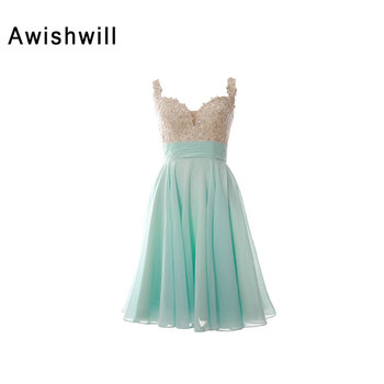 New Fashion Spaghetti Strap Appliques Beaded Chiffon Open Back Occasion Party Gowns Short Prom Dresses 2020