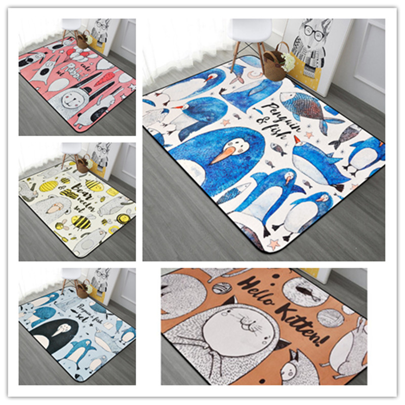 190*280cm Cartoon Large Area Printed Rectangle Carpet Multi-size Kids like living room Game Rugs Baby bedroom Crawl Mat Carpets
