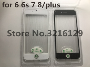 Image 2 - 20pcs cold press 3 in 1 Front Screen Glass With Frame OCA For iphone 5 5s 5c 6 6s 7 7g 8 8p plus repair black white Replacement