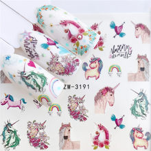 YZWLE 1 PC Nail Sticker Water Decals Christmas Flower Deer Horse Butterfly Cactus Transfer Nail Art Decoration(China)