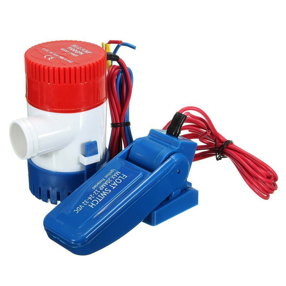1100GPH Boat Bilge Water Pump Submersible Marine Float Switch Intermittent Work 12V Kit #275636 1pc 750gph 12v boat marine automatic submersible bilge water pump float switch high quality