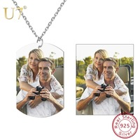 U7 Customized Photo Women Necklace 925 Sterling Silver Personalized Name Phone Number Pendant Dog ID Tags for Lovers Gift SC270