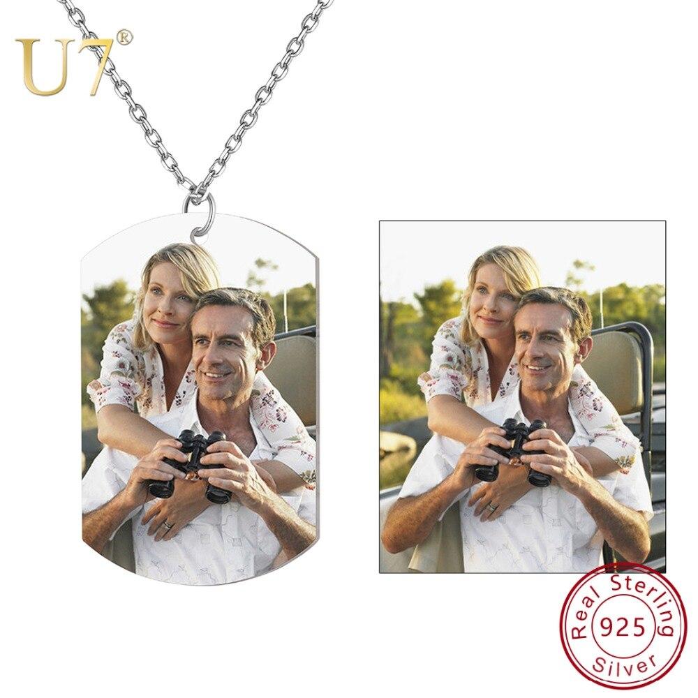 U7 personnalisé Photo femmes collier 925 en argent Sterling nom personnalisé numéro de téléphone pendentif chien ID étiquettes pour amoureux cadeau SC270