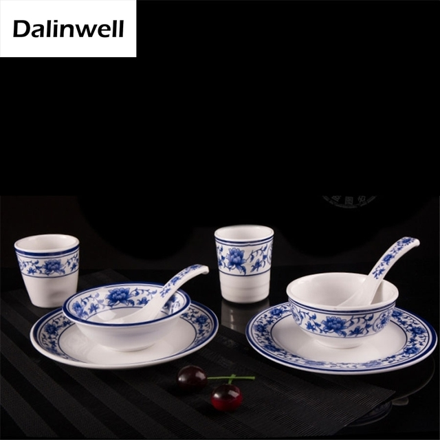 Imitate Chinese Blue And White Porcelain Tableware Melamine Restaurant Hot Pot Cafeteria Hard Plastic Plate Bowl & Imitate Chinese Blue And White Porcelain Tableware Melamine ...