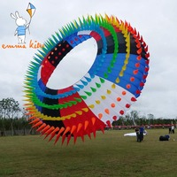 15m Outdoor Show Kite Rainbow Ring Halo Bol Soft Kite For Beach Flying