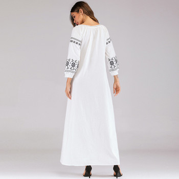 Long Chiffon Cardigan   Muslim Abaya Dress Elegant Embroidery Cardigan Robe Kimono Jubah Ramadan Arabic Long Sleeve Turkish Islamic Prayer Clothing 4.12