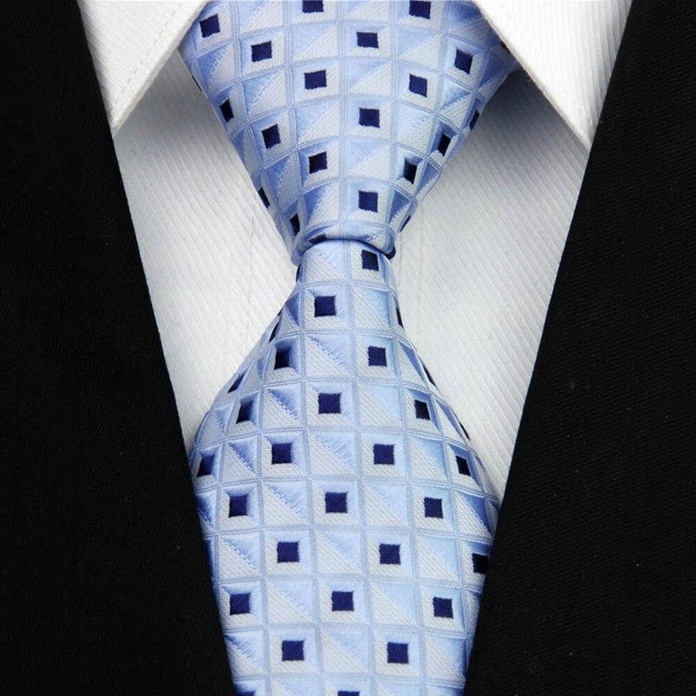 Модные Мужские Аксессуары Шаблон Проверки Бизнес Шелковый Галстук Геометрическая Жаккарда Сплетенные Галстук для Мужчин 3
