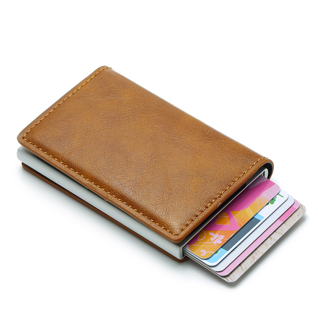 DIENQI Anti Rfid Protection Men Women Credit Card Holder Leather Vintage Slim Mini Wallet Metal Aluminum Business id Card Case