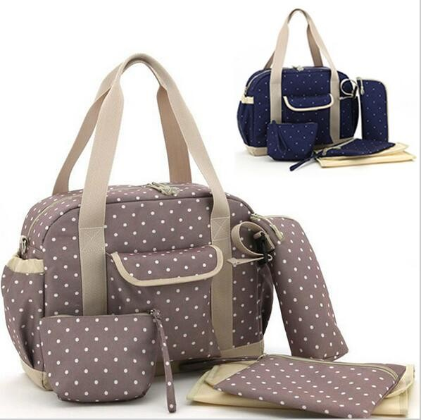 Us 29 89 Fashion Polka Dot Baby Diaper Bag Set Waterproof Tote Women Mom Messenger Travel Ny Multifunction Stroller In