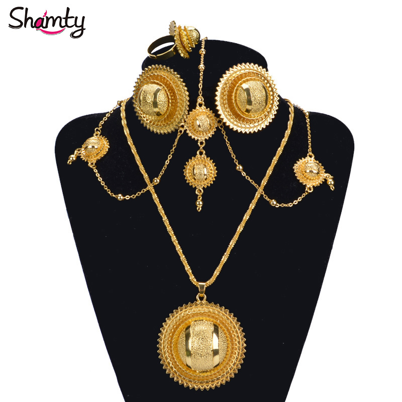 Shamty Ethiopian Bridal Pure Gold Color African Jewelry Sets HOT - Fashion Jewelry