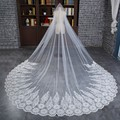 Luxury 2016 One-Layer White/ Ivory Pretty Lace Applique Edge Long Wedding Veil Bridal Veils Wedding Accessories Wedding Veils
