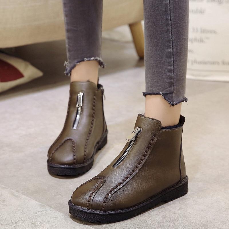 A 40 Zapatos Tamaño Punta Calzado Cuero Redonda 35 Más Tobillo Botas Hecho De Negro khaki Mano Cremallera Mujer px66Cdq8w