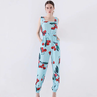 New Fashion Sky Blue Print Jumpsuits Women High Quality Sexy Summer Pretty Vacation clothings