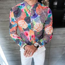 2018 New Casual Shirt Men Long Sleeve Full Color Printing Slim Fit Designs Fancy Shirts Man Comfortable Tendy Streetwear Clothes