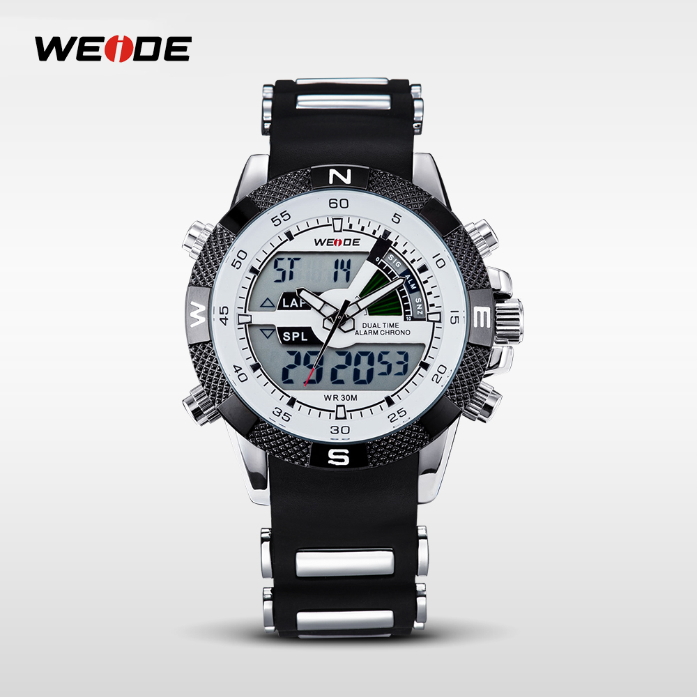 WEIDE Watches Men's Casual Watch Multifunction LED Watches Dual Time Zone With Alarm Sports Waterproof Quartz Wristwatches 1104 weide casual luxury genuin new watch men quartz digital date alarm waterproof clock relojes double display multiple time zone
