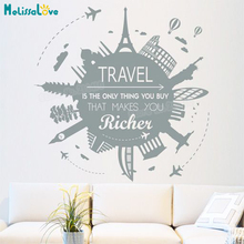 New Wall Sticker Travel Makes You Richer Decals For Living Room Bedroom Decals 3d Vinyl Wall Art Murals Unique Gift YY828