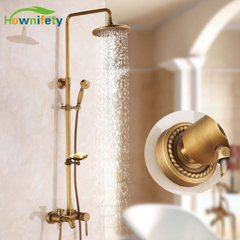 Antique Brass 8 Shower Head Bathroom Shower Set Faucet With Soap Dish Holder