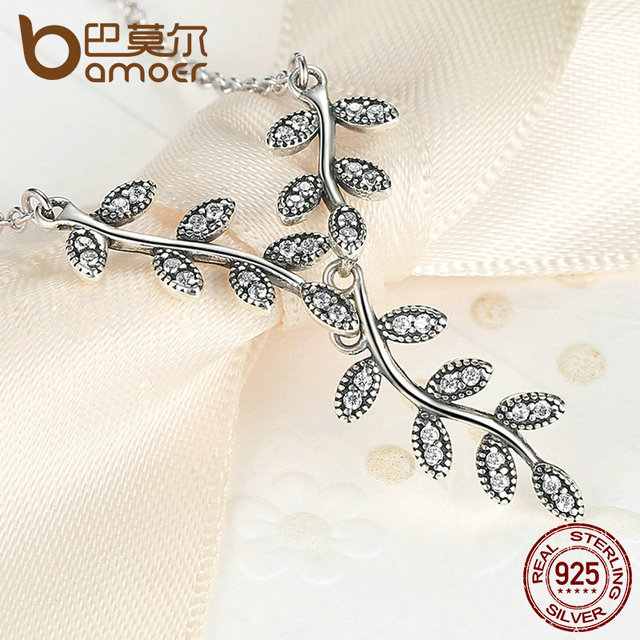 Sterling Silver Sparkling Leaves Long Necklace