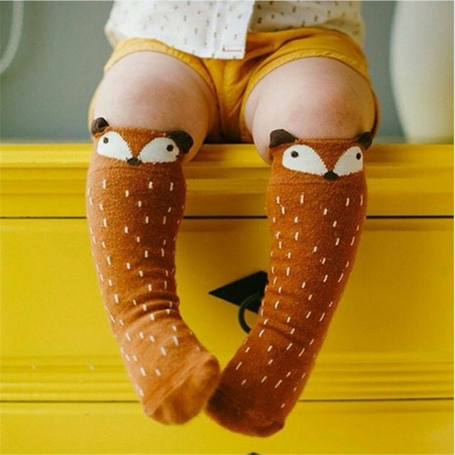 1 Pair Unisex Lovely Cute Cartoon Fox Kids baby Socks Knee Girl Boy Baby Toddler Socks animal infant Soft Cotton socks 0-3 Y