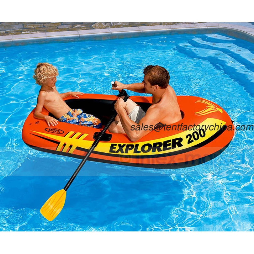 Intex Explorer 200, 2 Person Inflatable Boat Set with French Oars and Mini Air Pump 58331