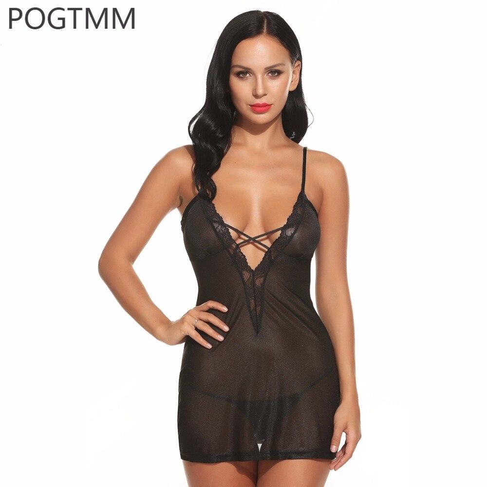 Women Transparent Deep V Babydoll Lingerie Sexy Erotic Hot Sex Costume Lace Mesh Short Nightwear Poro Underwear Exotic Clothing