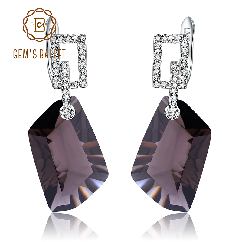 GEM S BALLET Natural Smoky Quartz Gemstone Drop Earrings for Women Real 925 Sterling Silver Dazzling