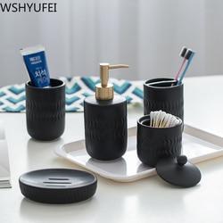 Czarny ceramiczna armatura łazienkowa uchwyt na szczoteczkę do zębów usta kubek mydelniczka balsam butelka w Kubeczki do łazienki od Dom i ogród na