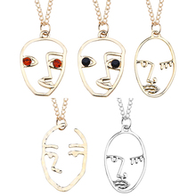 Creative Abstract Hand Face Pendant Necklace Woman Metal Hollow Silhouette Women Jewelry DropShipping