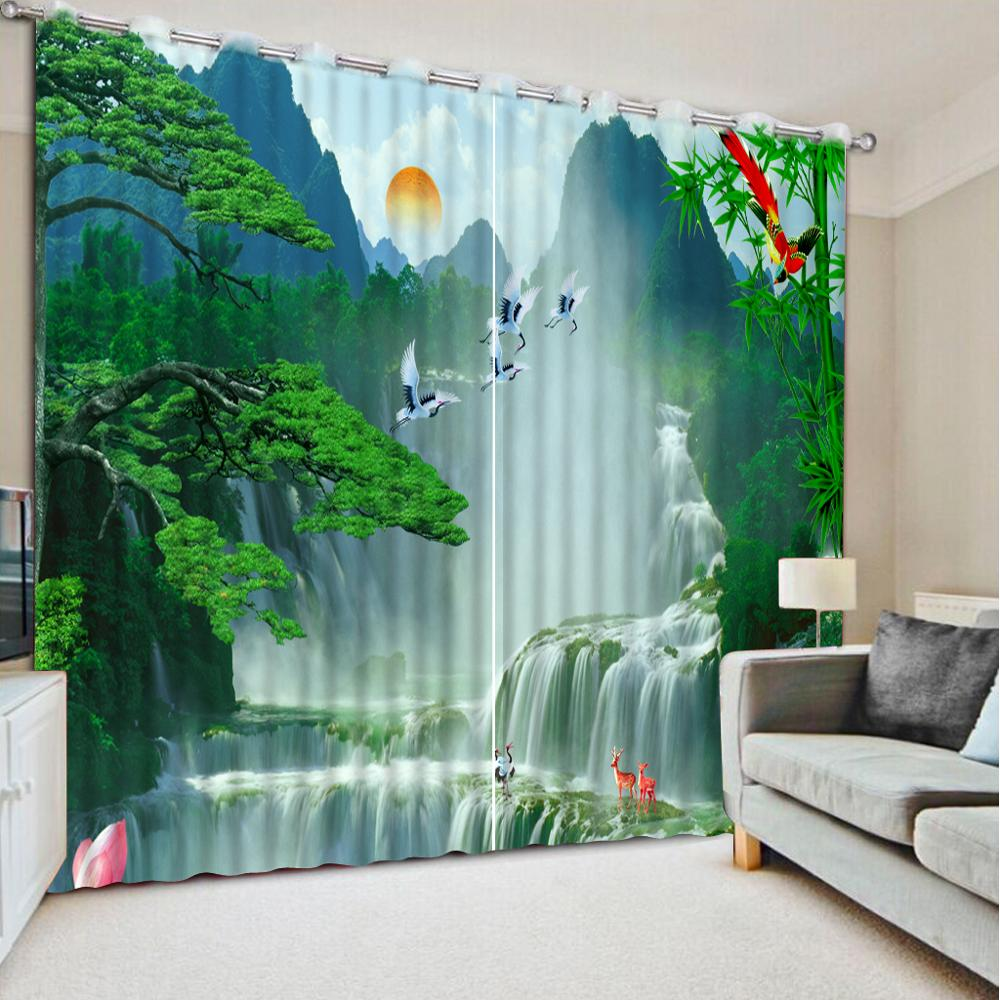modern style customize home and garden top seller Scenic waterfall home goods curtains Living room bedroom decor window curtainsmodern style customize home and garden top seller Scenic waterfall home goods curtains Living room bedroom decor window curtains