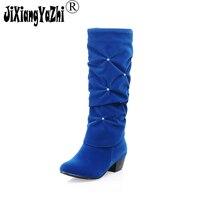 JIXIANGYAZHI 2018 Nubuck Flock Solid Colour Women Square Heel Mid Calf Boots Autumn Winter Pleated Diamond