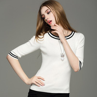 Hot Fashion Best Selling Women High Quality Summer Autumn Half Sleeve Slim Strecthed Knitted Blouse 4