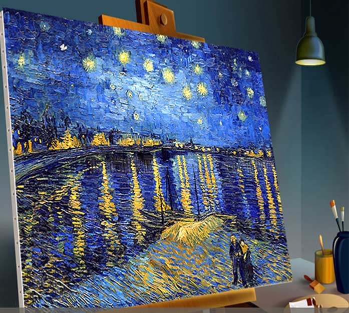 Van gogh painted replica sky canvas art gallery set oil for Decorative mural painting