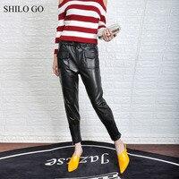 SHILO GO Leather Pants Womens Summer Fashion sheepskin genuine leather Pants tie stretch high waist side pocket pencil pants