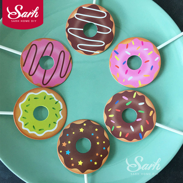 1 SET Color Cartoon Donuts Shape Birthday Cake Topper Dessert Decoration Party DIY Gifts Kid
