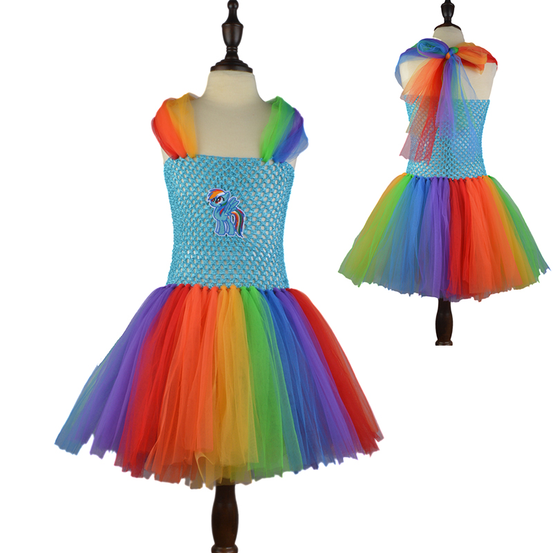 Fancy Girl Cartoon Rainbow Tutu Dress Cute Children Party Costume MLP Baby Summer Dresses Girl Birthday Gift Cosplay Vestidos black batman summer baby girl lace tutu dress bowknot kids halloween cosplay party dresses robe princesse fille children costume