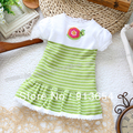 Free shipping new 2013 spring autumn baby clothing girl dress short sleeves stripe sweater baby all-match princess dress sweater
