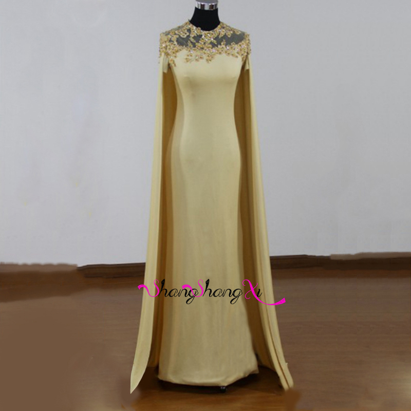 Sexy Formal Long Cape Evening Dresses 2017 Gray Cape Lace ...
