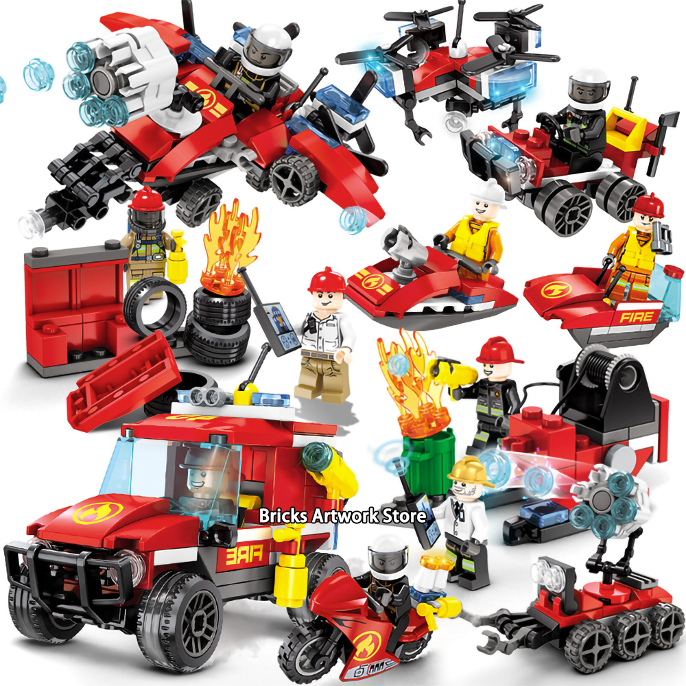 Fit City Fire Rescue Police Figures Pack Fireman Drone Boat Play House Set Educational Building Blocks Toy for Children image