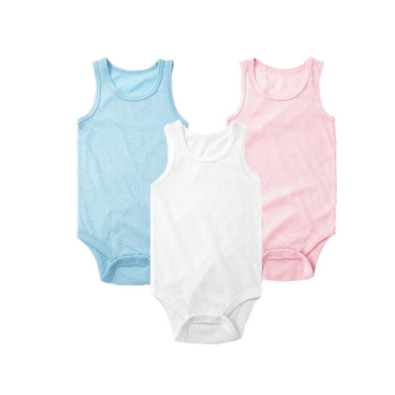 New2018 summer baby jumpsuits Sports style Breathable Mesh baby body one pieces pajamas Body Menino Baby Boy Sleeveless Bodysuit pearl detail mesh yoke skinny bodysuit