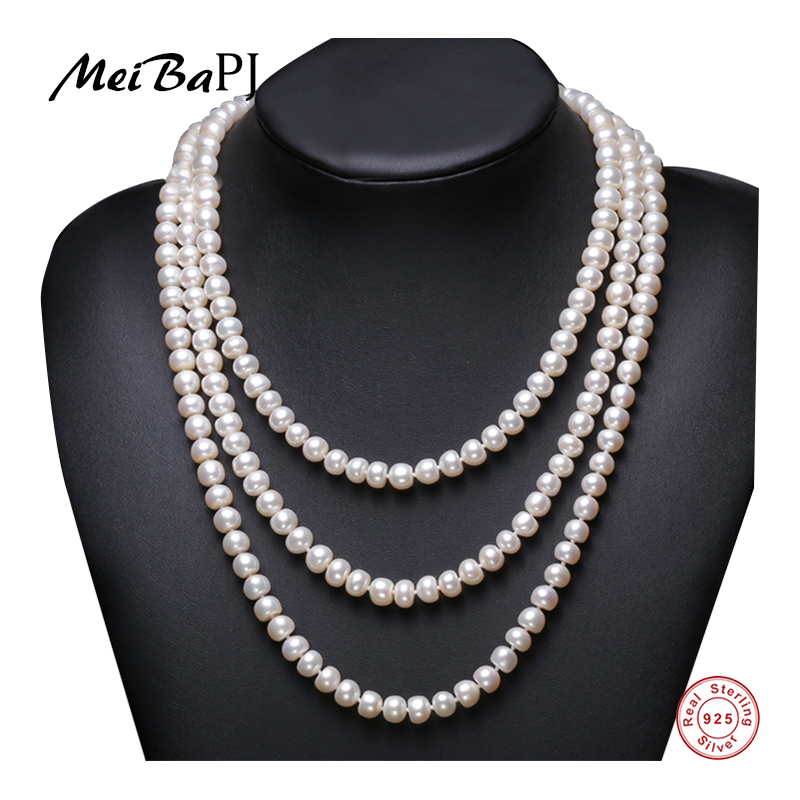 """7-8MM natural WHITE RICE PEARL Tie a knot NECKLACE  Silver clasp 18/"""""""