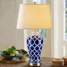 лучшая цена Chinese Blue Ceramic Table Lamp for restaurant living bedroom decorated table lights Vase White Blue lamps ZA622 ZL183
