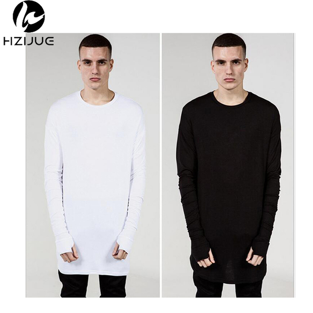 hot-selling  Long Sleeve Crew Wool tshirt  Tyga Swag Style Mens Side Split Hip Hop Top Tee T Shirt T-shirt Men Clothes
