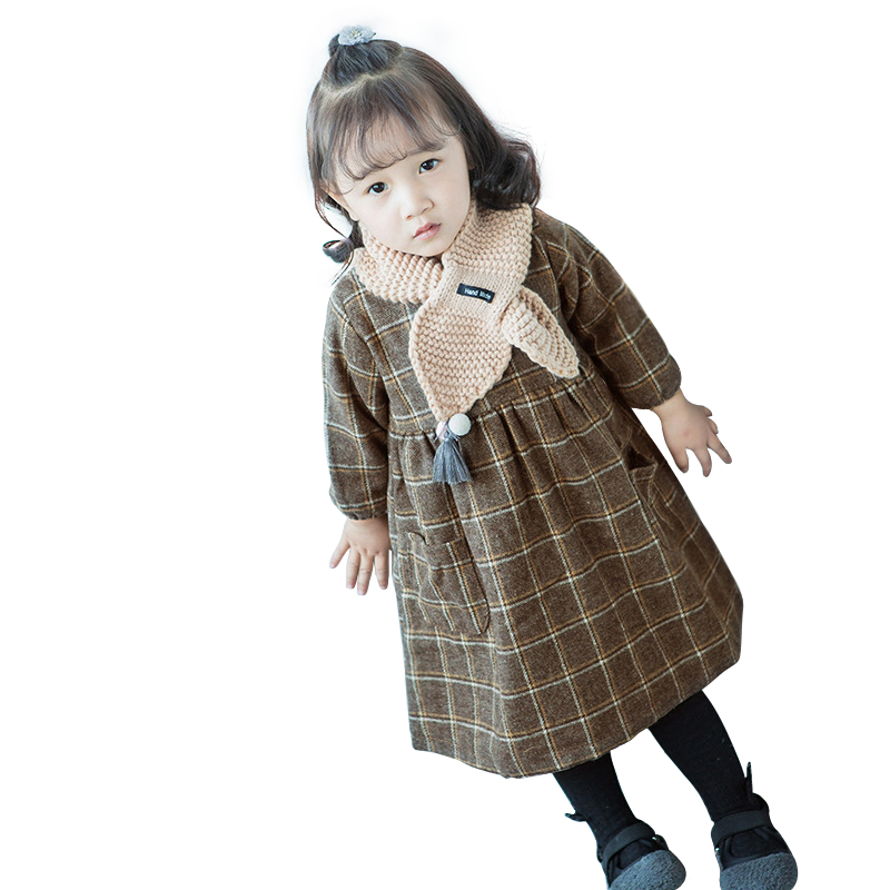 9M-3 Yrs Girls Korean Thick Lattice Printing Cotton Dress 2018 New Spring Cute Speaker Sleeve Princess Dress Retro Kids Clothes foreign trade adicolo digital printing princess dress girls korean princess dress