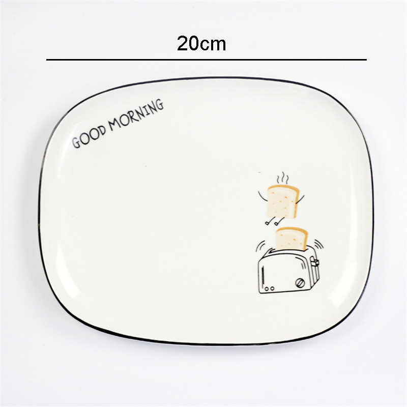 1Pc Nordic Rectangular Fruit Salad Cake Dessert Ceramic Plate Breakfast Dish Cute Cartoon Home Decorative Practical Storage Tray