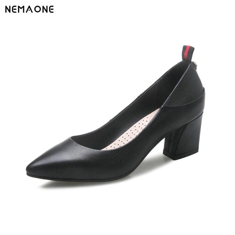 Neue Frauen 2019 High Schuhe Leder rot Sommer Frau Schwarzes Nnemaone Echtem Hochzeit Heels Pumpen Frühling Spitz T4g5w