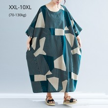 Fashion Women Geometric Cotton Linen Spring Summer Plus Size 10XL 9XL 8XL Casual Clothing Holiday Style Beach Dresses For Girls