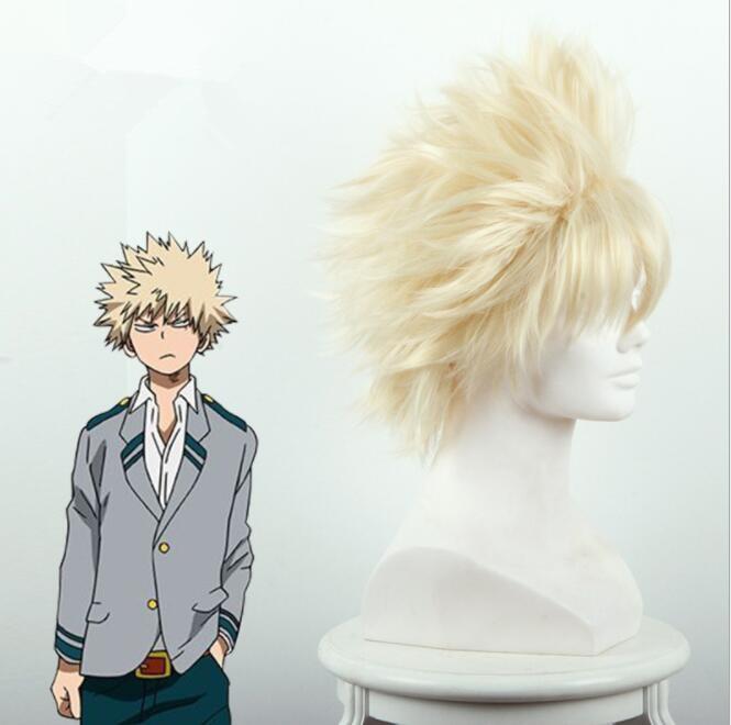 My Hero Academia Baku no Hero Bakugou Katsuki Bakugo Short Linen Blonde Heat Resistant Cosplay Costume Wig A299