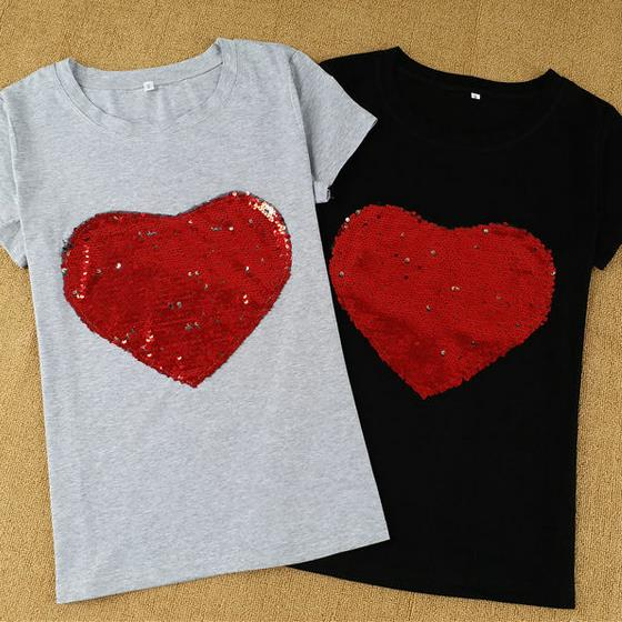 New Sequin Hearts Short Sleeve T-Shirt Female cotton tops t-shirt camisetas  mujer 893869c37122