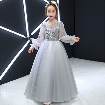 2019Autumn New Luxury Children's Princess Lace Flowers Host Catwalk Costume Prom Dress Little Girl Toddler Gray Color Long Dress